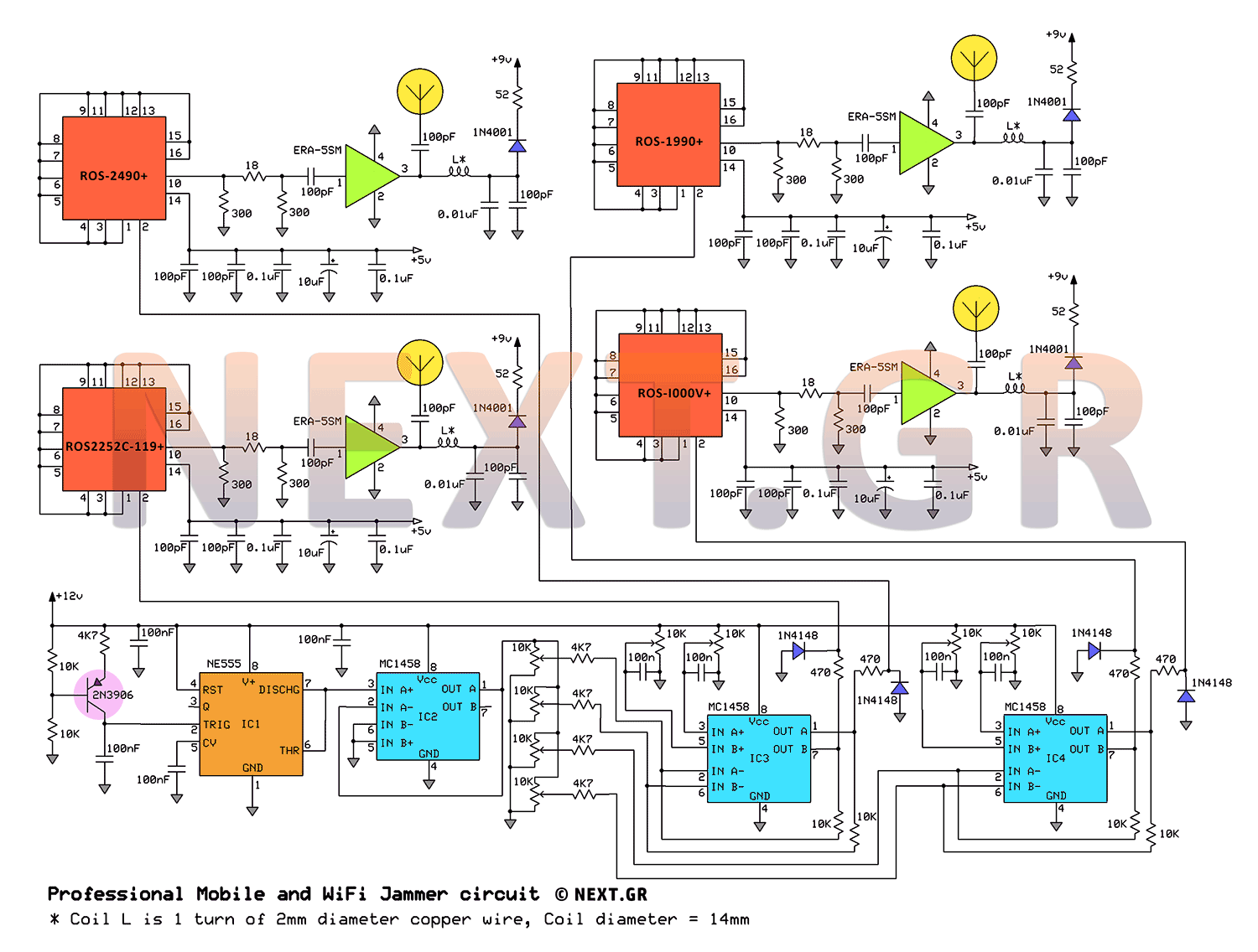 Jammer Circuit Rf Circuits High And Low Frequency Noise Generator Schematic Professional Mobile 1g 2g 3g 4g Wifi