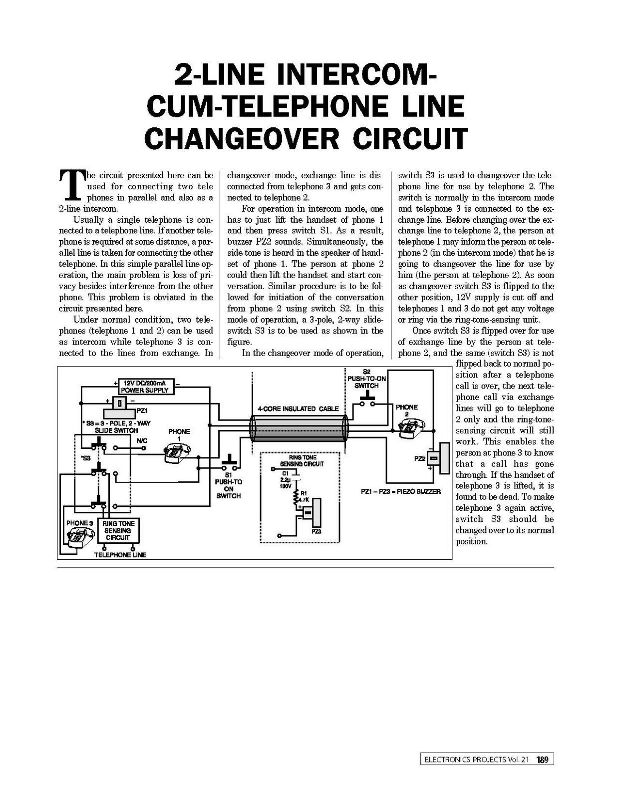 Sound Powered Telephone Wiring Diagram Line Intercom Cum Changeover Circuit 1236x1600