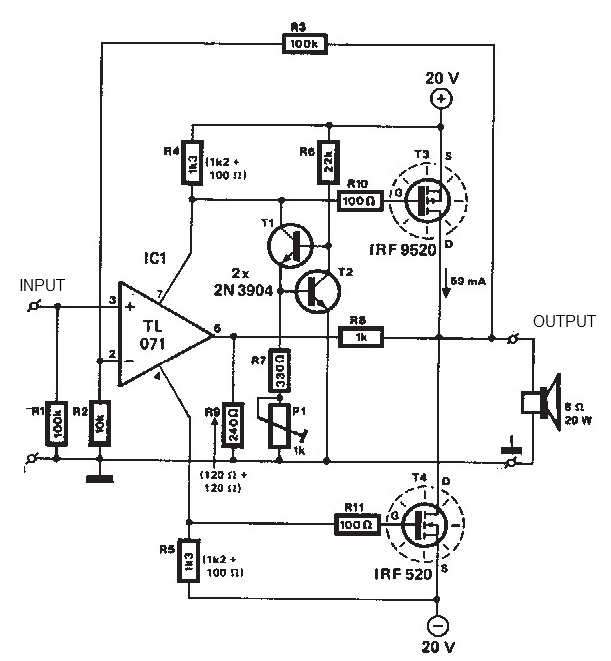 mosfet amplifier 20watt output power schematic diagram under repository-circuits