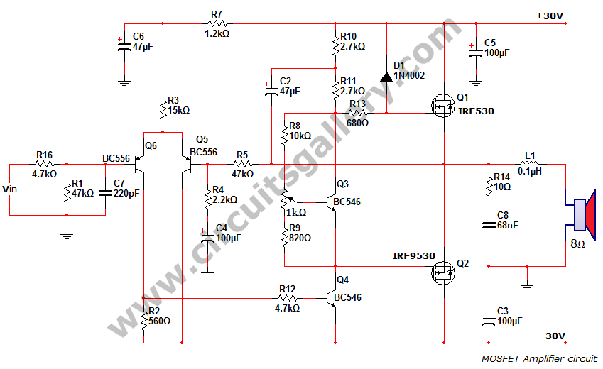 50 watt power MOSFET amplifier circuit diagram - schematic