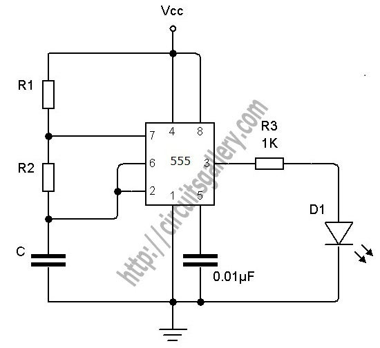 555 Timer Astable calculator for Astable Multivibrator Designing - schematic