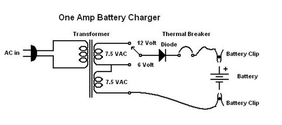 One Amp Battery Charger - schematic