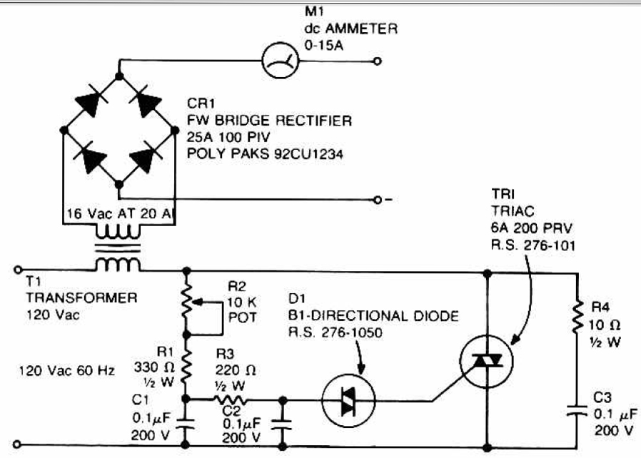 Gt Circuits Gt Accu Charger Use A Diac And Triac Schematic