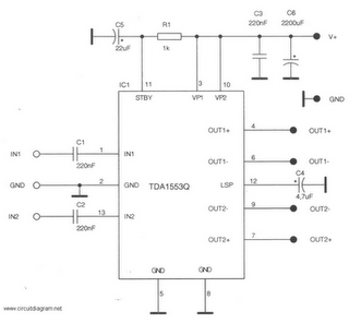 2 x 22W-BTL Car Audio Amplifier DA1553CQ Schematic Diagram - schematic