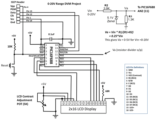 PIC16F688 Based Digital Voltmeter with a PIC mictocontroller - schematic