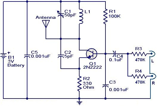 FM Transmitter circuit using 2N2222 - schematic