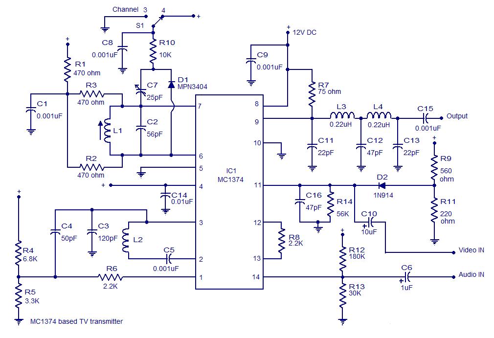tv transmitter circuit 17 - schematic