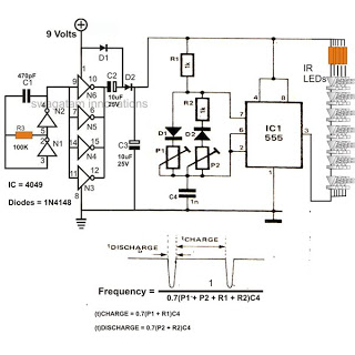 infra red ir led flood light circuit - schematic