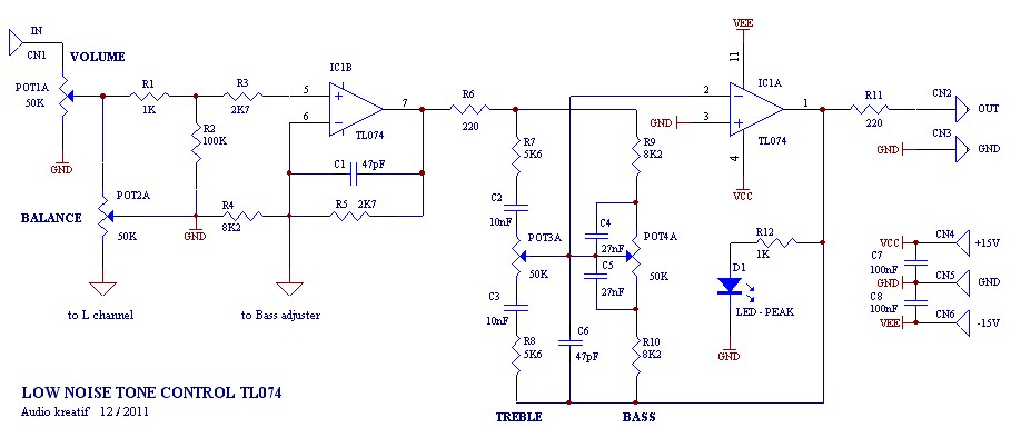 Tone control low noise circuit Schematic Diagram - schematic