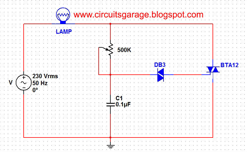 Light dimmer circuit using DIAC and TRIAC - schematic