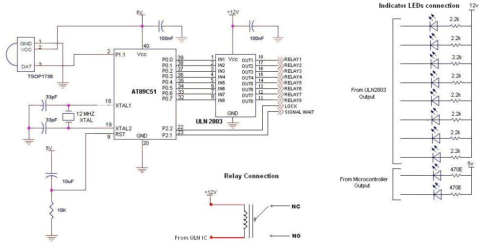 ir remote controlled switchboard rc5 - schematic