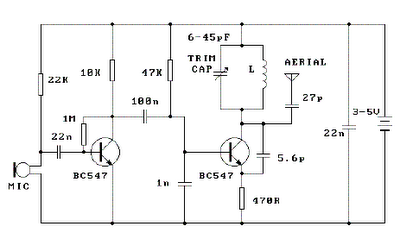 3v fm transmitters circuit diagram - schematic