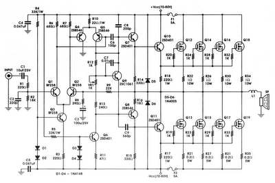 400w mosfet amplifier circuit schematic