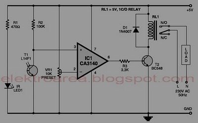 control relay with infrared circuit - schematic