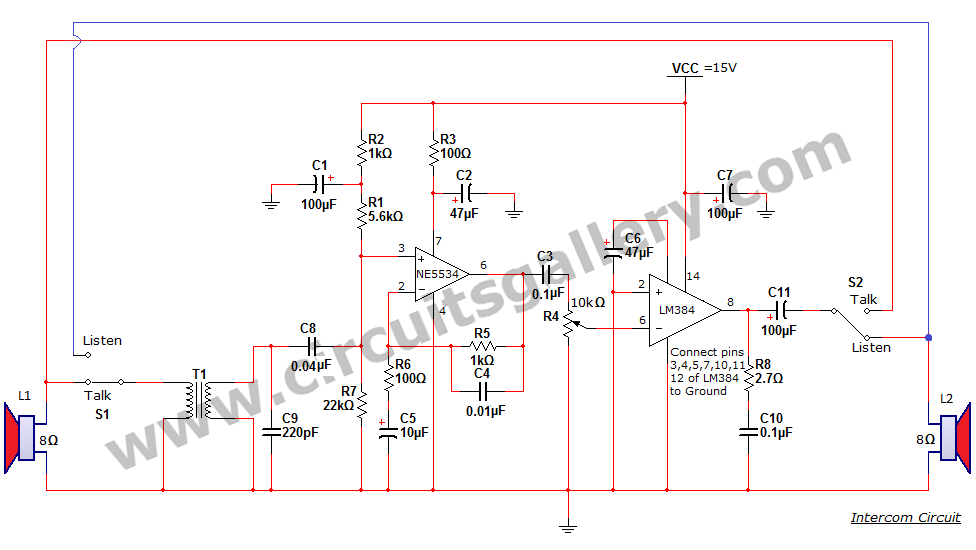 Simple Two Way Communication Intercom Circuit Schematic diagram - schematic