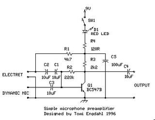simple microphone preamplifier