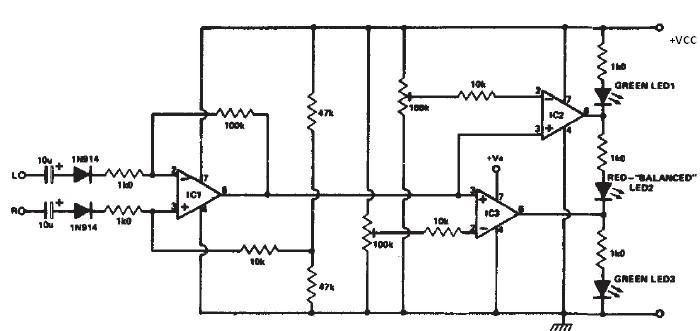 audio stereo circuit page 4 audio circuits next gr stereo balance indicator · this stereo balance indicator circuit diagram