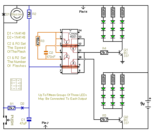 Three Flashing LED Doorbells Circuit Diagram3 doorbell circuit page 2 other circuits next gr Doorbell Wiring-Diagram Two Chimes at mifinder.co
