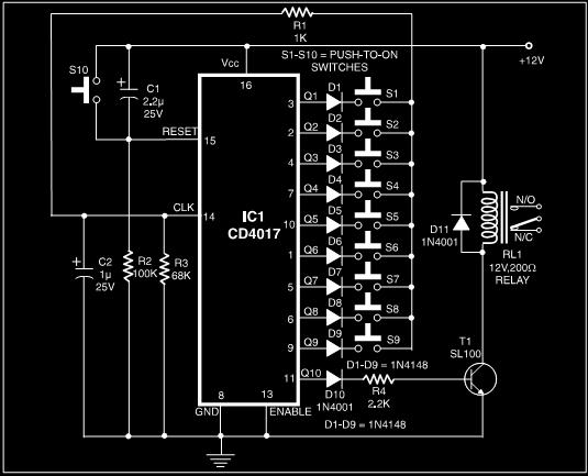 simple electronics code lock system - schematic
