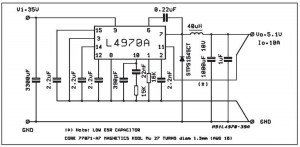 L4970A Easy 5V 10A Switching Regulator circuit - schematic