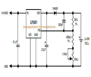 Li Ion Battery Charger Circuit Using IC LP2951 - schematic