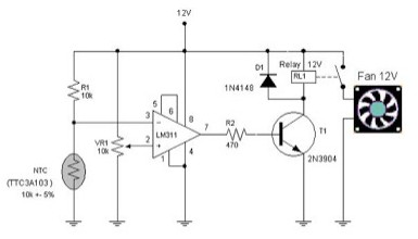 Electronic Circuit Schematic Automatic Fun Controller using NTC TTC3A103 as Temperature Sensor