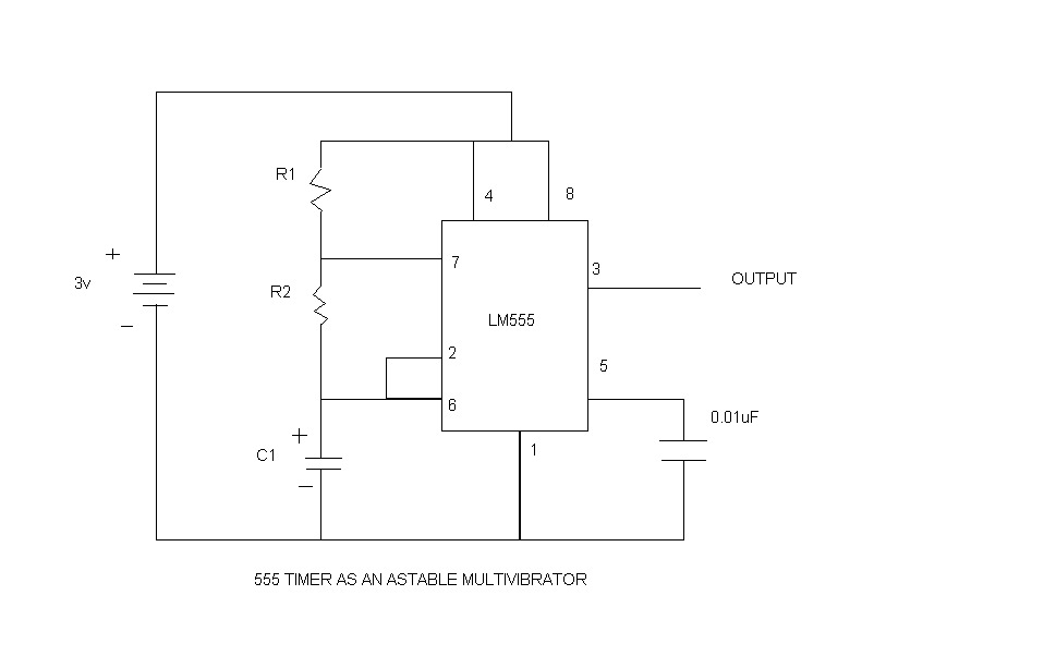 A 555 TIMER LED FLASHER CIRCUIT