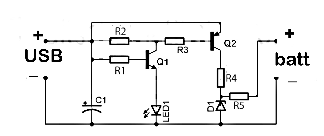 USB powered battery charger circuit - schematic
