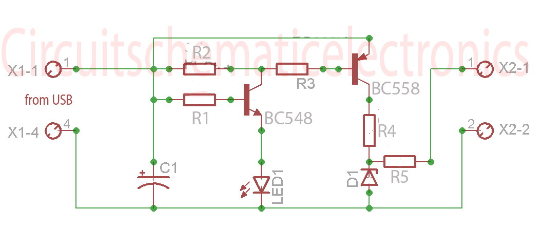 USB to phone battery charger circuit Schematic Diagram - schematic