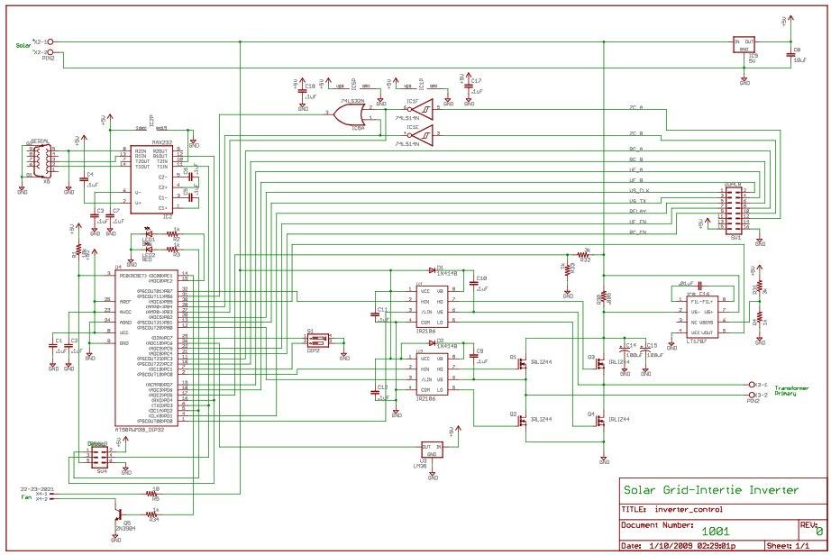 Solar Power / Panel Inverter using Attiny45 - schematic