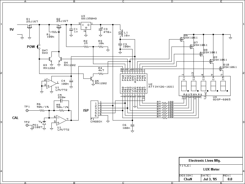 Lux meters attiny26-16 light measurement circuit - schematic