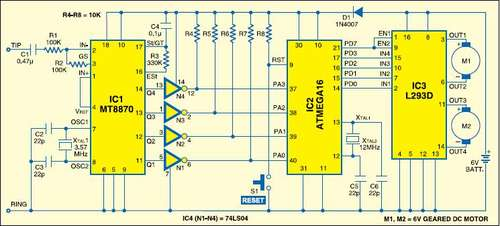 Cellphone Operated Robot using ATmega16 AVR microcontroller - schematic