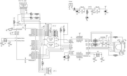 Credit card sized ethernet arduino controller - schematic