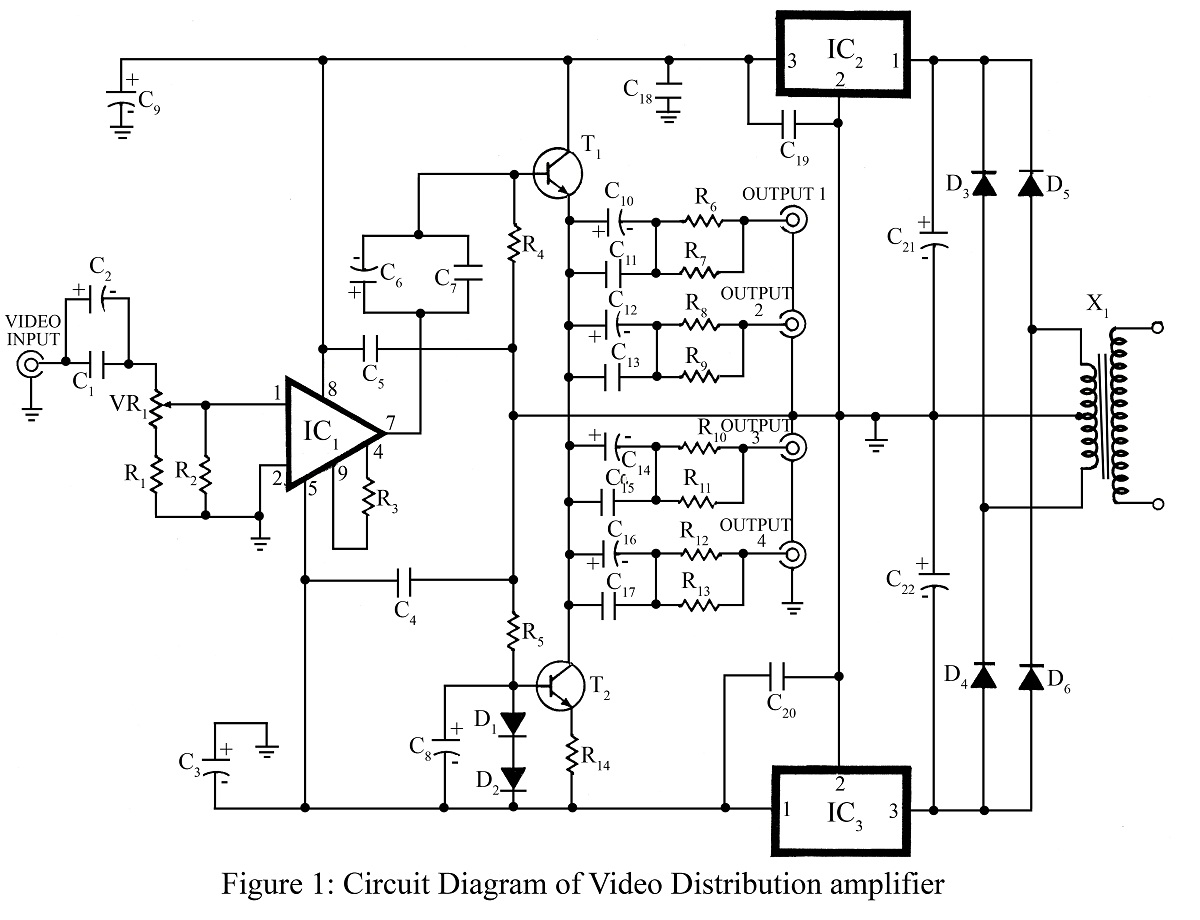 Video Distribution Amplifier - schematic