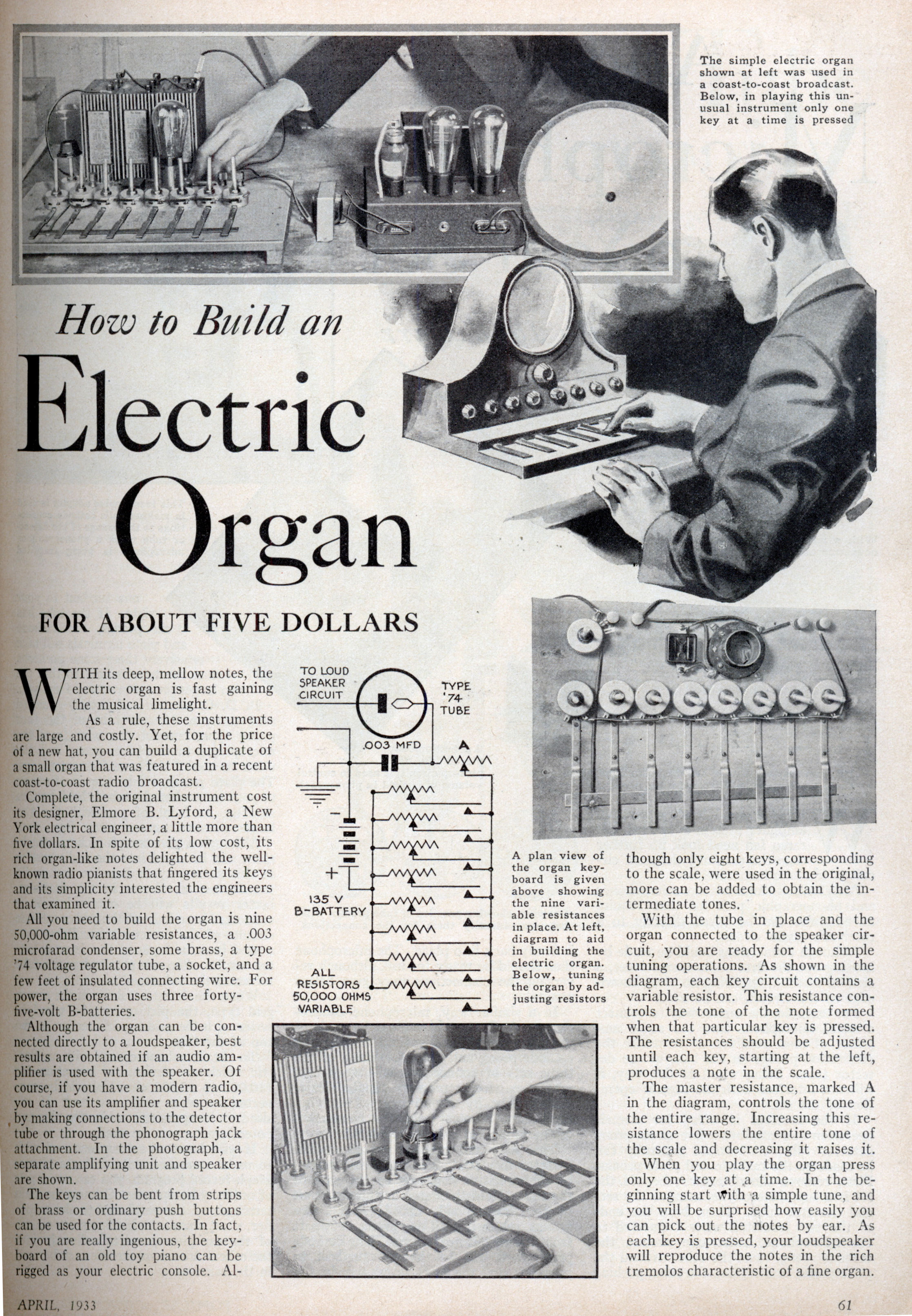Electric Organ FOR ABOUT FIVE DOLLARS - schematic