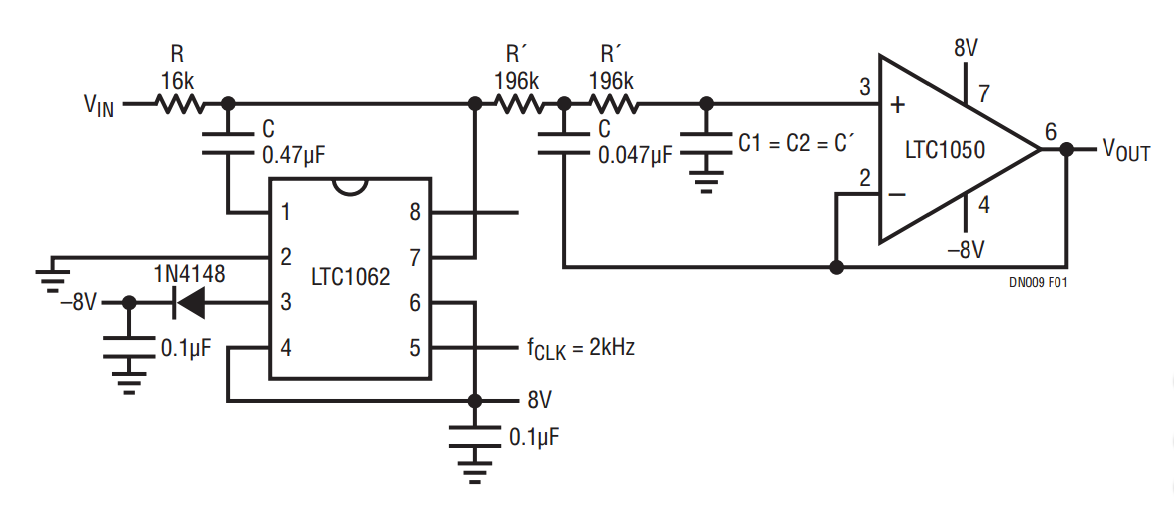 DC accurate low-pass filter - schematic