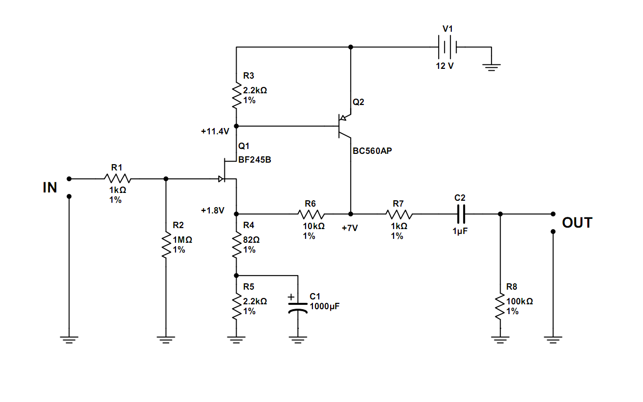 Simple JFET Preamp - schematic