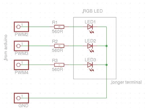 RGB LED experiment Arduino - schematic