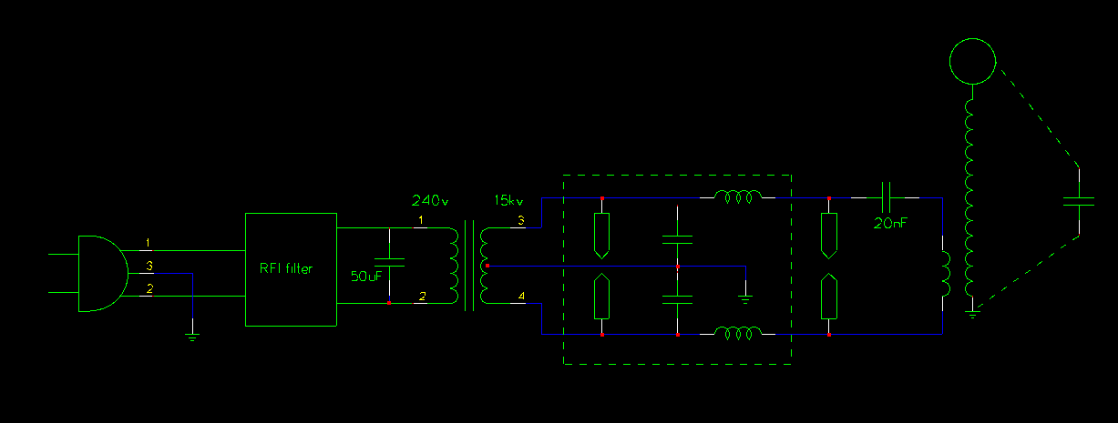 The QRM900 Tesla coil - schematic