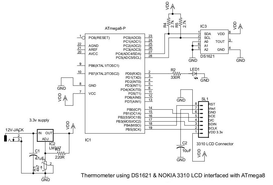 Thermometer using DS1621 and Nokia 3310 LCD interfaced with ATmega8 - schematic