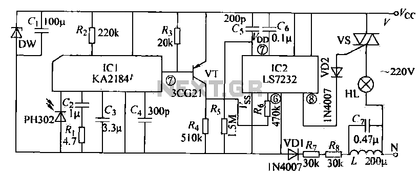 Infrared control dimming circuit - schematic