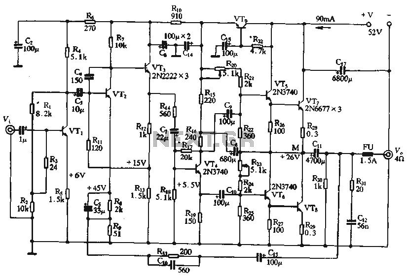 50WOTL amplifier circuit - schematic