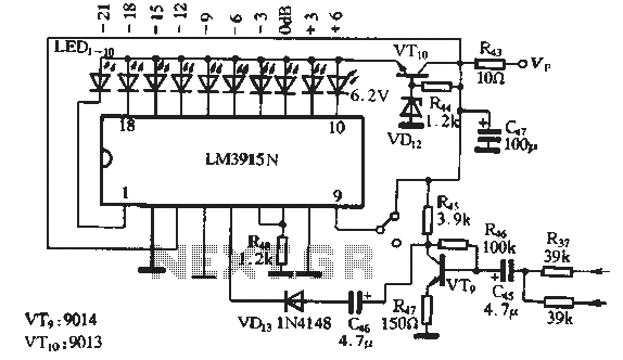 Recording level display circuit - schematic