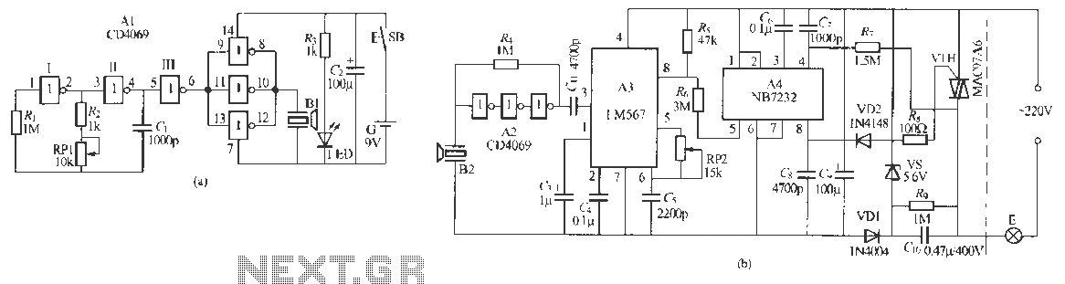 Ultrasonic remote control dimmer light circuit - schematic