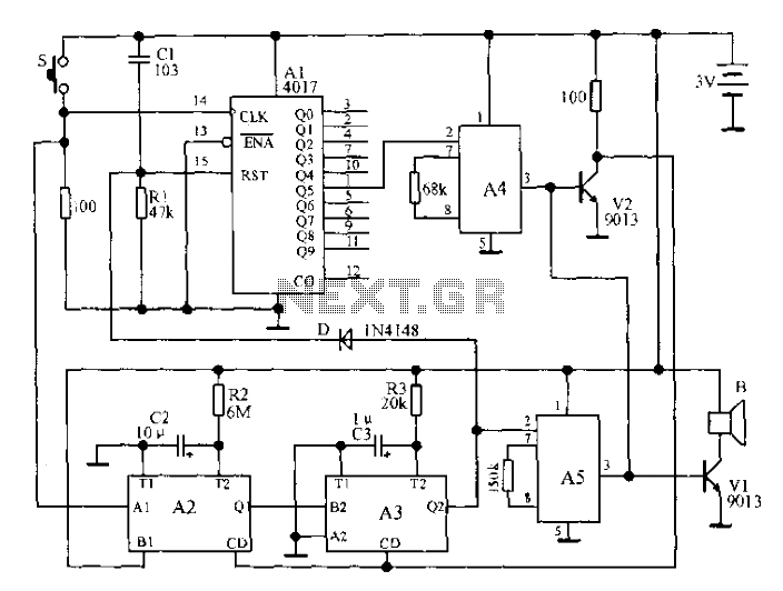 Music doorbell circuit - schematic