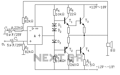 Integrated operational amplifier drives the power amplifier OCL - schematic