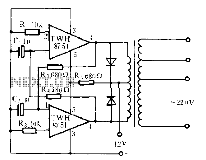Making power inverter with TWH8751 circuit - schematic