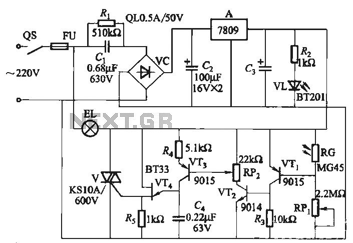 Dance hall circuit automatically fill light