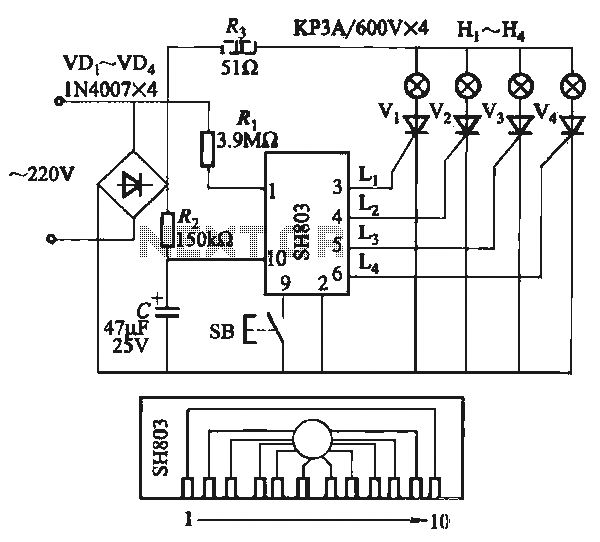 Eight multi-function lights synchronized chain of circuit SH803 - schematic