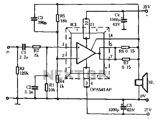 Single-chip audio power amplifier circuit - schematic